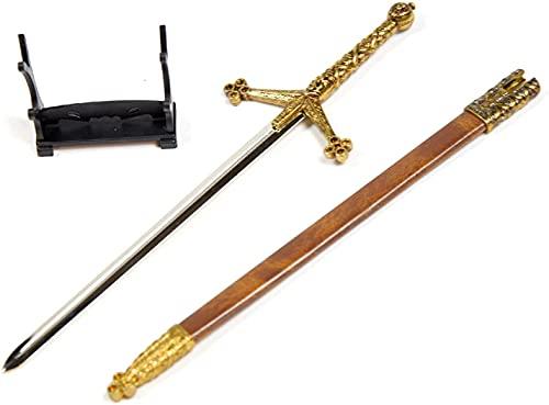 Claymore – mittelalterliches Schwert, Brieföffner mit Scheide, 26 cm lang, Miniaturschwert, Edelstahl, Geschenk und Merchandise für Ihr Zuhause und Bürozubehör