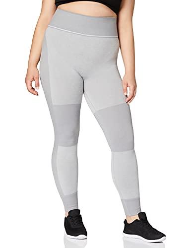 Marca Amazon - AURIQUE Mallas de Deporte sin Costuras de Tiro Alto Mujer, Gris (Light Grey), 42, Label:L