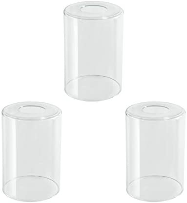 LHLYCLX 3 Pack Cylinder Glass Lamp Shade Clear Glass Cover Replacements for Lighting Fixtures product image