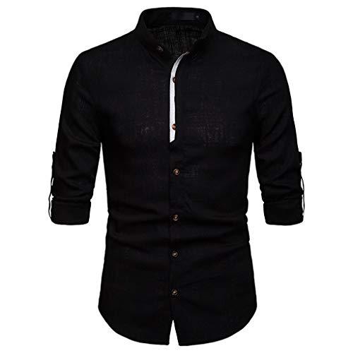 WINJIN Chemise Homme à la Mode à Manches Longues pour Hommes Chemises Business Chemises Homme Slim Fit Tee Shirt Homme Chemise Couleur Unie Haut Homme Top Blouse Chemises Grande Taille T-Shirt Casual