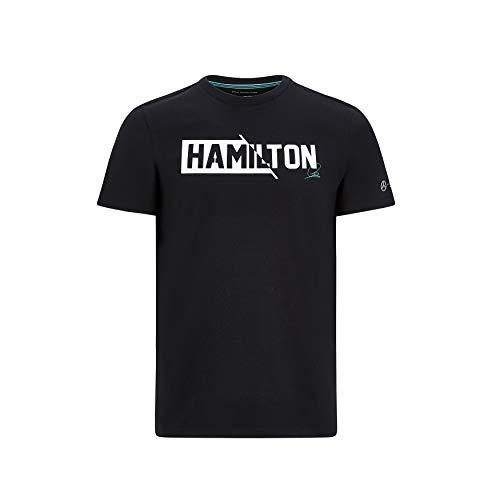 Mercedes Benz AMG Petronas F1 Herren Lewis Hamilton #44 T-Shirt Schwarz/Weiß (S, Schwarz)