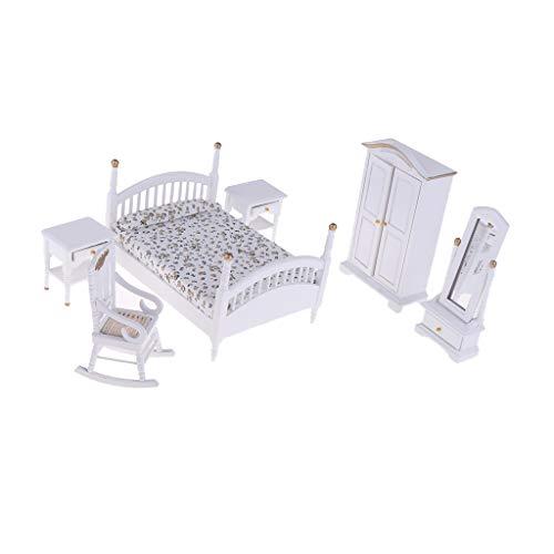 sharprepublic Juego de Muebles de Dormitorio de Casa de Muñecas de 6 Piezas: Cama de Madera a Escala 1:12, Junto a Las Mesas,