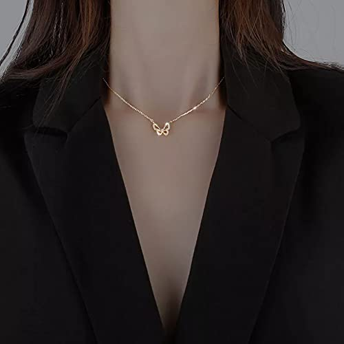 Chenfeng Collar con Colgante de Mujer Collar Mariposa para Mujer Cadena clavícula Brillante joyería Diaria joyería Compromiso Boda Aniversario Regalos para Esposa Madre y Novia Regalo de cumpleaños
