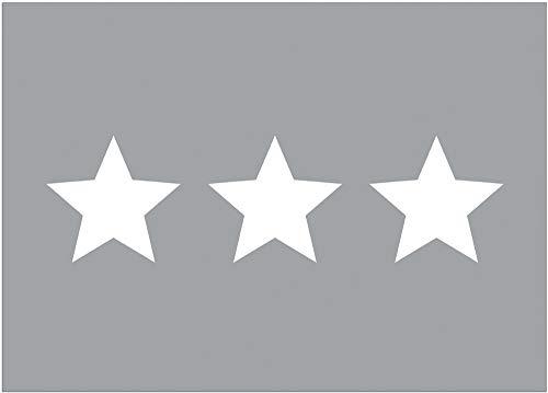 Matches21 - Felpudo decorativo con diseño de tres estrellas, color blanco y gris claro, antideslizante y lavable, 1 unidad, 50 x 70 cm