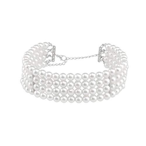 TLZR Anhänger Halskette Halskette Für Frauen Halsreifen Mädchen Perlenkette Gotischer Halsreif Perlenhalsband Halsketten Für White