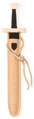 Lungo lavorato in legno spada con fodero Impugnatura ergonomica con marrone pelle pivotante Fodero in iuta con corda per befaestigen sui pantaloni Attuazione ricchi in linea con il medioevo
