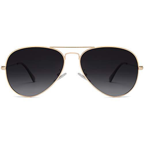 SOJOS Classic Aviator Polarized Sunglasses for Men Women Vintage Retro Style SJ1054,Gold/Gradient Grey