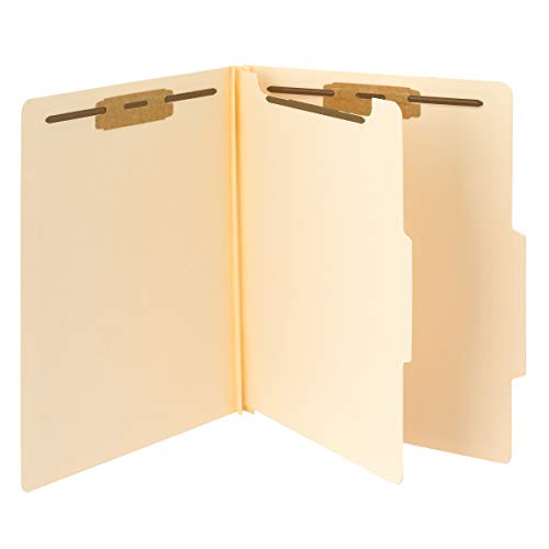 "Smead Classification File Folder, 1 Divider, 2"" Expansion, 2/5-Cut Tab, Letter Size, Manila, 10 per Box (13700)"