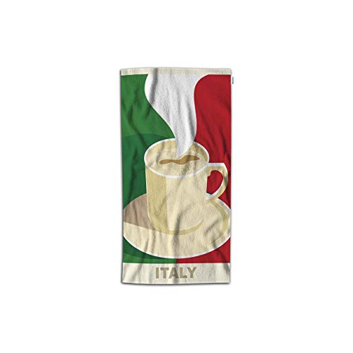 Moslion Coffee Hand Towel Italy Espresso Cappuccino with Italian Flag Towel Soft Microfiber Face Hand Towel Kitchen Bathroom for Kids Baby Men 15x30 Inch Green Red Beige