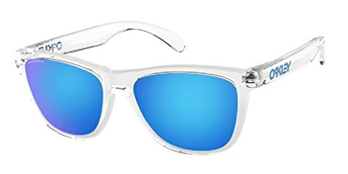 Oakley Frogskins OO9013 9013D0 55M Crystal Clear/Prizm Sapphire Sunglasses For Men For Women+BUNDLE with Oakley Accessory Leash Kit