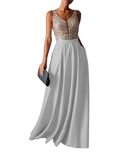 HUINI Abendkleid Lang Damen Ballkleider Hochzeitskleid Vintage Glitzer Cocktail Partykleider Brautkleider Silber 34