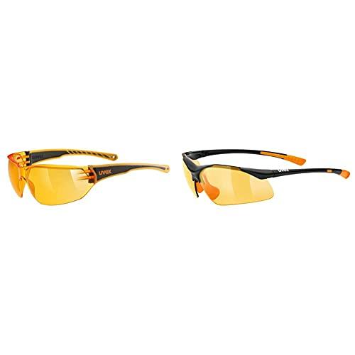 Uvex Unisex– Erwachsene, sportstyle 204 Sportbrille, orange/orange, one size & Unisex– Erwachsene, sportstyle 223 Sportbrille, black orange/orange, one size