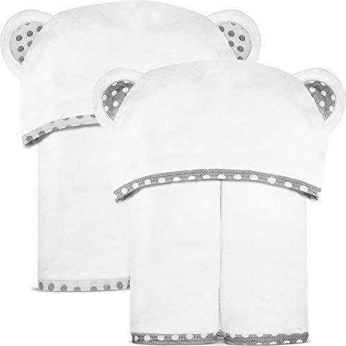 Set of 2 Bamboo Hooded Baby Towels – Large, Luxurious and Super Absorbent – 35 x 35 Inch – Soft and Suitable for Infants, Toddlers and Kids – 400 GSM for Boys and Girls