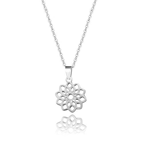 YQMR Colgante Collar para Mujer,Vintage Collar De Mujer Diseño Clásico Plata Hueco Grabado Boho Mandala Colgante Niña Joyería Regalo para Novia Amigo Mamá