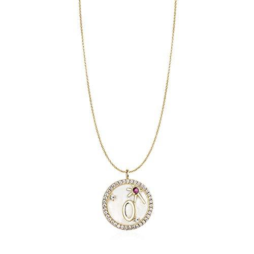 ZANZAN Collares con números para mujeres y niñas, plata de ley 925 personalizada número de la suerte, collares de San Valentín y oro para hombre y mujer (color: 0)