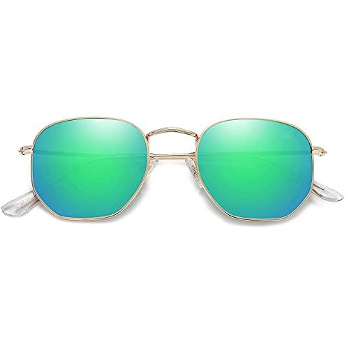 Gafas de sol para hombre y mujer, con ojos de gato, redondas, retro, vintage, retro, lentes poligonales, protección UV, gafas de sol, clásicas, de metal, marco con bisagras de muelle