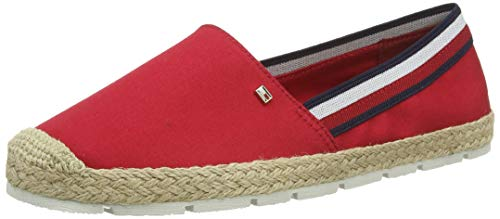 Tommy Hilfiger Damen Basic Tommy Corporate Espadrille Peeptoe Pumps, Rot (Primary Red XLG), 41 EU