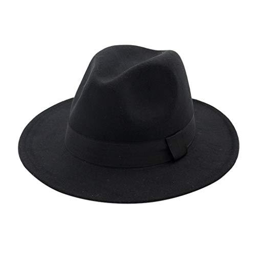 Mens Womens Fedora Hats with Belt Buckle Wide Brim Panama Fedora Jazz Dance Cap 56-58cm