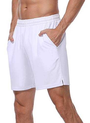 HISKYWIN Men's 7' Quick-Dry Running Shorts Workout Jogging Mesh Shorts with Pockets Zip F605-White-M