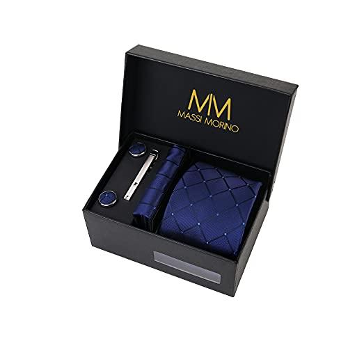 Massi Morino ® Set de corbata (caja regalo para hombres) Corbatas de hombre y pañuelos + gemelos + clip de corbata (Cuadrado Azul Oscuro)