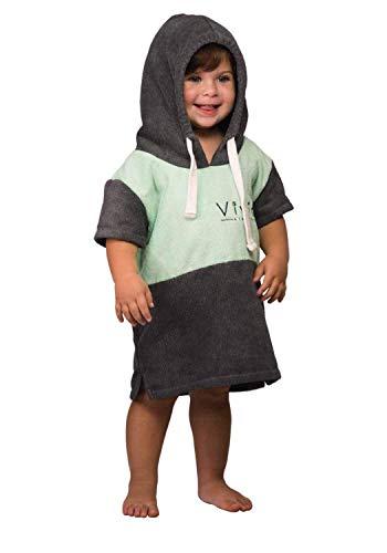 Vivida Lifestyle Poncho mit Kapuze Handtuch und Umziehilfe am Strand, beim Surfen und Schwimmen verwendbar - Grün-Grau, S (Baby)
