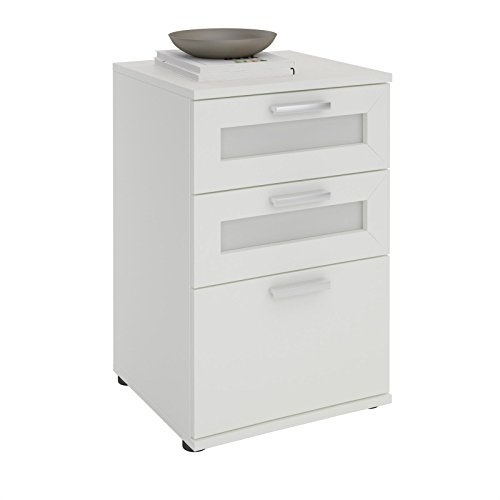 CARO-Möbel Nachttisch für Boxspringbetten Nachtschrank Nachtkommode MARIKE in weiß, mit 3 Schubladen
