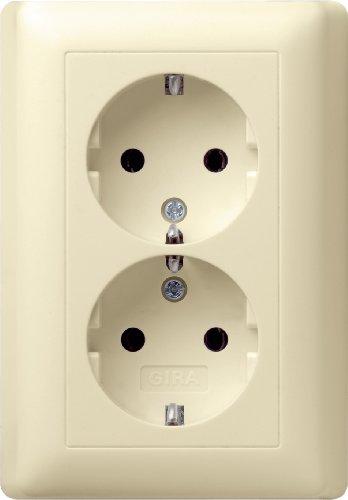 Preisvergleich Produktbild Gira 078001 Doppel Schuko Steckdose Standard 55,  cremeweiß