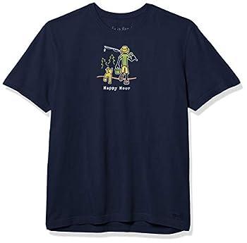 Life is Good Men s Vintage Crusher Graphic T-Shirt Happy Hour Fishing Darkest Blue Medium