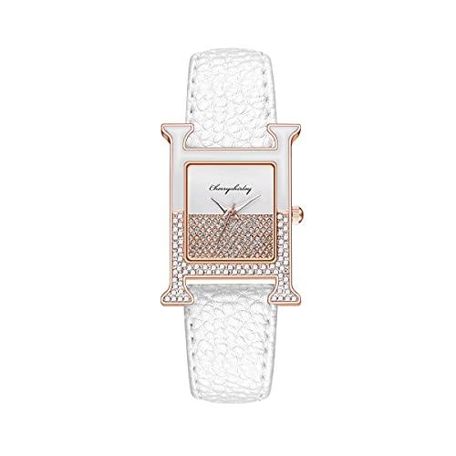 CXJC Reloj Decorativo de Moda de 40 * 20 mm en Forma de H. Reloj Deportivo Impermeable de Cuero + aleación. Reloj de Cuarzo Casual para Mujer (Color : Si)