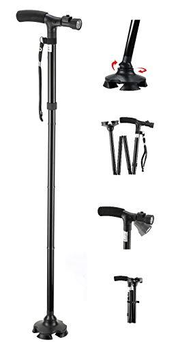 Medi-Cane Folding Travel Cane with Pivoting Wide Quad Foot Base and Adjustable 6 Bulb LED Flashlight