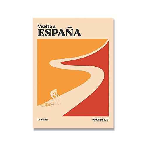 YALUO Tour in Bicicletta Sport Art Parete Poster Tour de France Giro Minimalista Tela Pittura Tela Soggiorno Gym Gym Boys Wall Decor Stampe (Color : B, Size : 50x70cm No Frame)