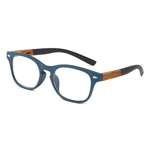 D&XQX Mode Holz-Look Federscharniere Lesebrille Leser Männer Andwomen HD Presbyopie Brille Dioptrien + 1.0 bis +3.5,Blau,+2.5