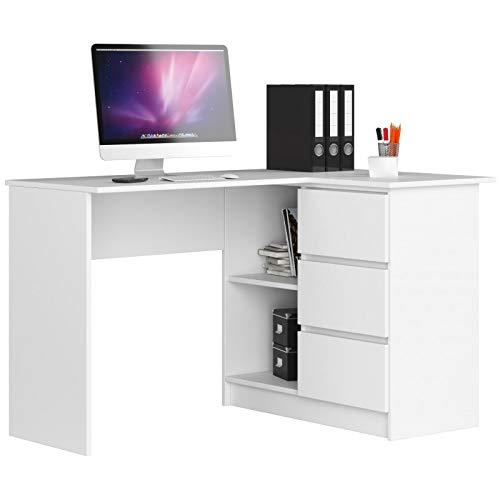 Herby Schreibtisch Eckschreibtisch Stilo Kinderschreibtisch Computertisch Jugend weiß Sonoma Erle Wenge 25 (Weiß, Rechts)