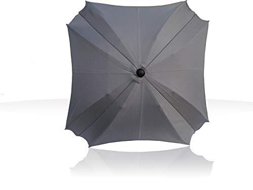 Sonnenschirm für Kinderwagen, mit flexiblem Befestigungsarm, Sonnenschirm mit UV-Schutz, Durchmesser 68 cm,Quadratische (Grau)
