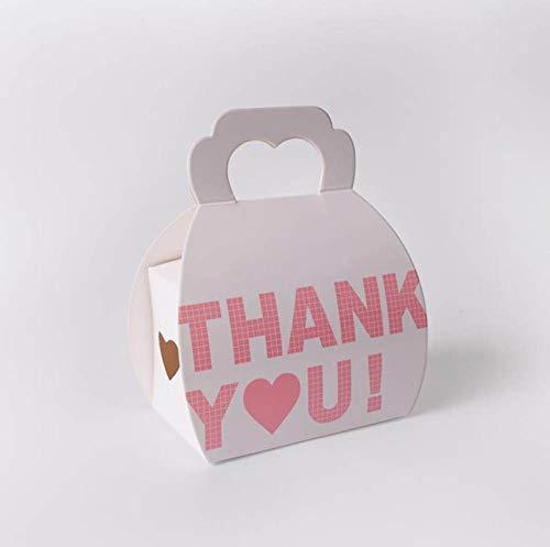 MNHJG Bolsa de Regalo 10pcsPink Caja de Dulces de Boda romántica Caja de Regalo de cumpleaños Caja de Embalaje en Forma de corazón de Mano Blanca Gracias