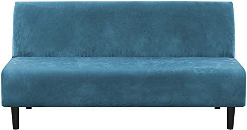 LINGKY Funda De Sofá De Terciopelo Sin Brazos, Más Gruesa Elástica para Sofá Cama Protector De Muebles Antideslizante Se Adapta A Sofá Cama Plegable Sin Reposabrazos (Peacock Blue)