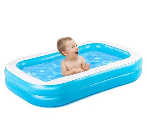 Piscina gonfiabile, piscina rettangolare, ad alta resistenza, PVC, ispessita, feste estive, centro di nuoto per bambini, adulti, esterni, facile da montare, blu (128 x 85 x 45 cm)