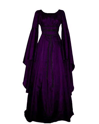 Mujer Mangas Largas Cuello Redondo Vestido Medieval De Señora Largo Vestido Renacimiento Gótico Vestido Morado S