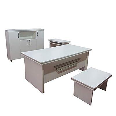 Casa Mare Modern New Star 5 Piece Office Furniture Set | Office Desk | Home Office Furniture | White Office Furniture | White and Metalic Grey