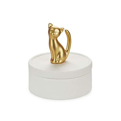 Balvi Caja joyero Kitten Color Blanco y Dorado Mate Caja de cerámica para Joyas con Tapa y Figura de Gato Decorativa Porcelana 9,8 cm