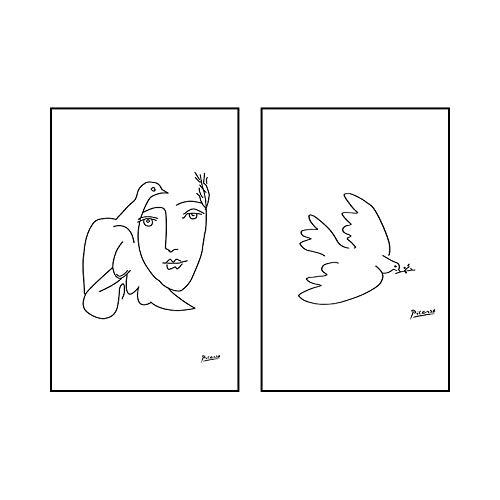 Poster de la Paloma de la Paz de Picasso Línea Abstracta en Blanco y Negro Arte de la Pared Pintura en Lienzo Minimalista Sala de Estar Cuadros de Picasso Decoracion para el hogar 50x70cmx2 Sin Marco