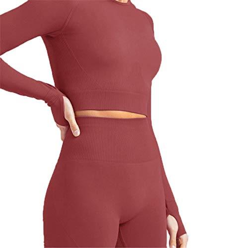 Mujer Tops Yoga Camiseta Deportiva Running Correr, Tops de cultura de la tripulación de la tripulación de manga larga sin costura de las mujeres Tops de la cosecha de la camiseta en el entrenamiento d