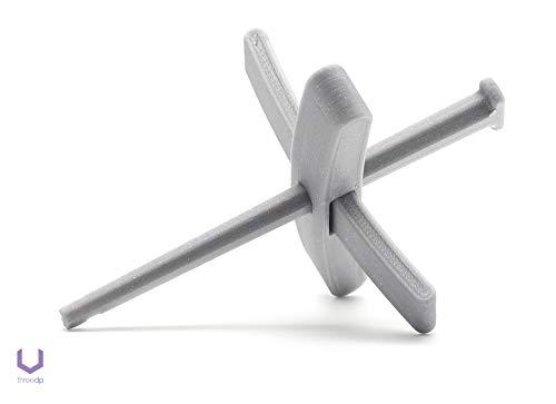 HexaHooked Türkische Spindel [75 mm - 3''] Grau Turkish Spindle - Handspindel für das Handspinnen von Wolle