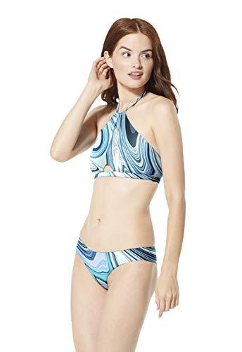 Speedo Noemi High Neck Top Bikini Traje de baño de una Pieza, Amalfi Blue, Extra-Large para Mujer