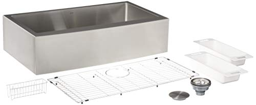 ZUHNE 36-Inch Single Bowl Farmhouse Curved Apron Front Stainless Steel...