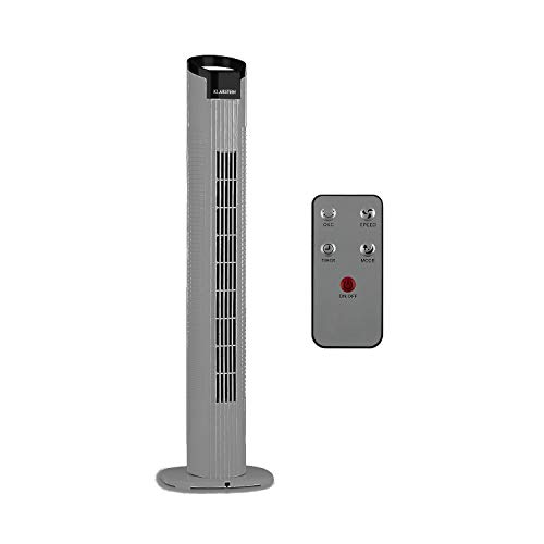 Klarstein Mana Peak - Ventilador de torre, 3 velocidades, 3 modos ventilación, Oscilación conmutable 80°, Caudal 442,8 m³/h, Potencia 50 W, Temporizador, Pantalla táctil, Mando a distancia, Hueso