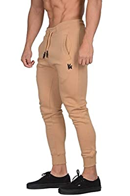 YoungLA Fitted Mens Joggers | Slim Fit Training Workout Gym Pants | Tapered Sweatpants 219 Camel S