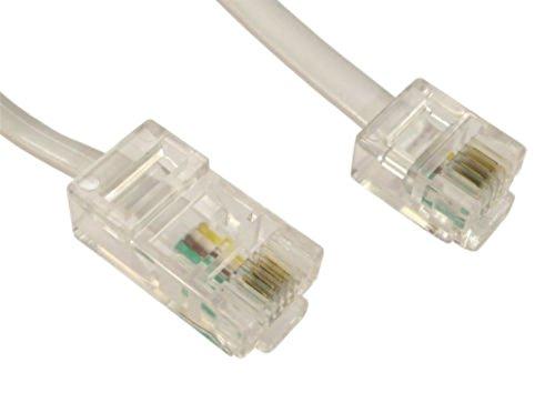rhinocable 2m RJ45 Kabel Ethernet-Modem-Daten-Telefon ASDL Patch Führen Breitband Schnelle Geschwindigkeit BT Internet-Stecker 6P4C bis 8P8C Eben Kompatibel mit Modem, Router, Festnetz (Weiß)