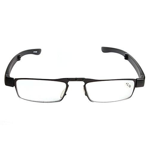 Delmkin leesbril hoogwaardige opvouwbare leesbril met brillenkoker van +1,0 tot +4.0 dioptrieën +2.0