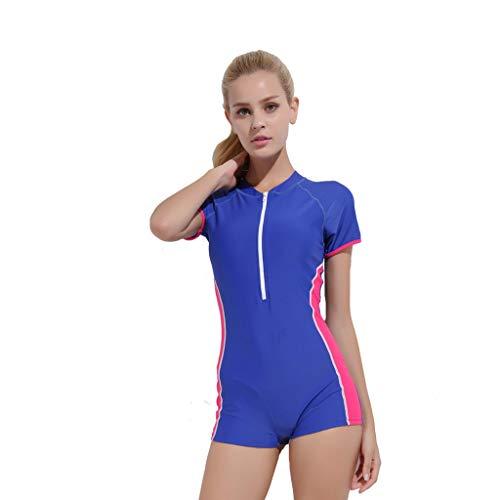 iYmitz Damen Einteiliger Surfanzug Sommer UV Schutz Badeanzug Badebekleidung Wassersport Anzug Wetsuit für Frauen(Blau,XL)